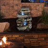 Outdoor Water Fountain With LED Lights, Lighted Cascade Waterfall, Natural Looking Stone and Soothing Sound for Patio and Garden D�cor By Pure Garden