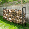 Pure Garden 8 Foot Firewood Log Rack with Cover