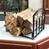 Log Storage Rack-Metal Firewood Holder, Fireplace Hearth Bin, or Wood Stove Basket for Indoor Kindling & Lumber with Decorative Scrolls by Pure Garden