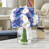 Hydrangea and Rose Artificial Silk Floral Arrangement in Vase with Faux Water for Home D�cor, Wedding Centerpiece by Pure Garden (Purple and Cream)