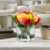 Multicolor Tulip Artificial Floral Arrangement with Vase and Faux Water- Fake Flowers for Home D�cor, Weddings, Shower Centerpiece by Pure Garden