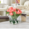 Tulip Artificial Floral Arrangement with Vase and Faux Water- Fake Flowers for Home D�cor, Weddings, Shower Centerpiece by Pure Garden (Soft Coral)