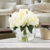 Rose Artificial Floral Arrangement with Vase and Faux Water- Fake Flowers for Home D�cor, Weddings, Shower Centerpiece by Pure Garden (Cream)