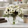 Daisy Artificial Floral Arrangement with Vase and Faux Water- Fake Flowers for Home D�cor, Weddings, Shower Centerpiece by Pure Garden (White)
