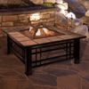 Fire Pit Set, Wood Burning Pit - Includes Spark Screen and Log Poker - Great for Outdoor and Patio, 32? Square Tile Firepit by Pure Garden