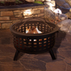 Fire Pit Set, Wood Burning Pit - Includes Spark Screen and Log Poker - Great for Outdoor and Patio, 26? Round Metal Firepit by Pure Garden