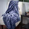 Lavish Home Plush Croc Embossed Faux Fur Mink Throw - Blue-Grey