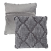 Geometric Textured Decorative Throw Pillow and Insert- Home D�cor Lattice Trellis Accent Pillow with Invisible Zipper, 18 Inch by Lavish Home ? Grey
