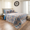 Twin Quilt Bed Set, 2 Piece Reversible Microfiber Quilt Bedding Set With Shams ?Alexandra Embossed Quilt Bedroom Set by Lavish Home (Blue)