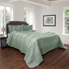 Quilt and Sham Set- Hypoallergenic 2 Piece Oversized Twin Quilt Bed Set with Striped Ruffle Design- Kadyn Series By Lavish Home (Green)
