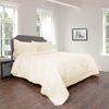 Quilt and Sham Set- Hypoallergenic 3 Piece Oversized King Quilt Bed Set with Striped Ruffle Design- Kadyn Series By Lavish Home (Ivory)