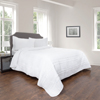 Quilt and Sham Set- Hypoallergenic 2 Piece Oversized Twin Quilt Bed Set with Striped Ruffle Design- Kadryn Series By Lavish Home (White)