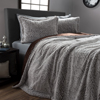 Faux Fur Comforter Set, 3 Piece King Comforter and Sham Set With Mink Faux Fur By Lavish Home ? (King Size) (Grey / Chocolate / Black)