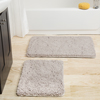 Lavish Home 2 Piece Memory Foam Shag Bath Mat - Warm Grey