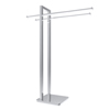 Freestanding Towel Rack - Stainless Steel Holder Stand for Towels with Double Hanging Bar for Bathroom Organization by Lavish Home (Chrome)