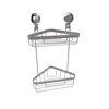Wall Mounted Two Tier Corner Shower Caddy- Shower Storage Rack for Bathroom Organizing with Stainless Steel Twist Lock Suction Cups by Lavish Home