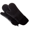 Silicone Oven Mitts ? Extra Long Professional Quality Heat Resistant with Quilted Lining and 2-sided Textured Grip ? 1 pair Black by Lavish Home