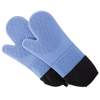 Silicone Oven Mitts ? Extra Long Professional Quality Heat Resistant with Quilted Lining and 2-sided Textured Grip ? 1 pair Blue by Lavish Home