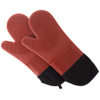 Silicone Oven Mitts ? Extra Long Professional Quality Heat Resistant with Quilted Lining and 2-sided Textured Grip ? 1 pair Dark Red by Lavish Home