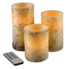Flickering Flameless LED Candles with Birch Bark- Set of 3 Battery Operated Real Wax Pillar Candles with Remote Control and Timer by Lavish Home