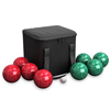 Bocce Ball Set- Outdoor Family Bocce Game for Backyard, Lawn, Beach and More- Red and Green Balls, Pallino, and Equipment Carrying Case by Hey! Play!