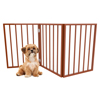 Foldable, Free-Standing Wooden Pet Gate- Light Weight, Indoor Barrier for Small Dogs / Cats by PETMAKER- Light Brown, 24 Inch Step Over Doorway Fence
