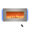 Electric Fireplace-  Wall Mounted with 13 Backlight Colors, Adjustable Heat and Remote Control- 31 inch by Northwest (Brushed Silver)
