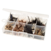 Fly Fishing Lures- 50 Piece Natural Assorted Dry Insect Flies, Fishing Equipment for Catch and Release in Organizer Tool Box by Wakeman Outdoors