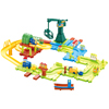 Toy Train for Toddlers - 58 Piece Plastic Deluxe Train Set with Adjustable Tracks and Battery-Operated Trains for Boys and Girls by Hey! Play!