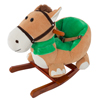 Rocking Horse Plush Animal on Wooden Rockers with Seat & Seat Belt and Sounds, Ride on Toy for 3+ Years, by Happy Trails - Brown
