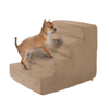 High Density Foam Pet Stairs 4 Steps with Machine Washable Zippered Removeable Micro-Fiber Cover with non-slip bottom by PETMAKER ? Tan