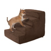High Density Foam Pet Stairs 4 Steps with Machine Washable Zippered Removeable Micro-Fiber Cover with non-slip bottom by PETMAKER ? Brown