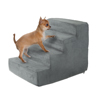 High Density Foam Pet Stairs 4 Steps with Machine Washable Zippered Removeable Micro-Fiber Cover with non-slip bottom by PETMAKER ? Gray