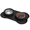 Stainless Steel Pet Bowls for Dogs and Cats- Set of 2 Dishes for Food and Water in Non Slip No Mess Silicone Tray- Bowls 12oz Each by PETMAKER -BLACK