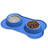 Stainless Steel Pet Bowls for Dogs and Cats- Set of 2 Dishes for Food and Water in Non Slip No Mess Silicone Tray- Bowls 12oz Each by PETMAKER -BLUE