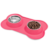Stainless Steel Pet Bowls for Dogs and Cats- Set of 2 Dishes for Food and Water in Non Slip No Mess Silicone Tray- Bowls 12oz Each by PETMAKER -PINK