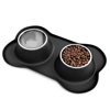 Stainless Steel Pet Bowls for Dogs and Cats- Set of 2 Dishes for Food and Water in Non Slip No Mess Silicone Tray- Bowls 24oz Each by PETMAKER -BLACK