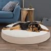 Round Pet Bed- Memory Foam Pillow Top Reversible Cat and Dog Bed with Removable Sherpa / Micro-Suede Machine Washable Cover 42 x 5 by PETMAKER - Tan