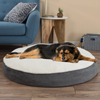 Round Pet Bed- Memory Foam Pillow Top Reversible Cat and Dog Bed with Removable Sherpa / Micro-Suede Machine Washable Cover 42 x 5 by PETMAKER -Gray