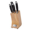 Professional Quality 5 Piece Stainless Steel Kitchen Knife Set with Sharper Paring Two Santoku Knives and Storage Wood Block by Classic Cuisine