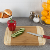 Two Tone Bamboo Cutting Board- Extra Thick, Eco Friendly and Antibacterial Chopping and Serving Board with Juice Groove 12x9x.75 by Classic Cuisine