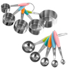 Measuring Cups and Spoons Set, Stainless Steel with Colored Silicone Handles and Metal Ring Hanger for Baking and Cooking by Classic Cuisine, 10 Piece