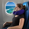 Memory Foam Travel Pillow- Round U-Shaped Neck/Head Support with Pillowcase Protector for Sleeping, Airplanes, Train and Camping by Lavish Home (Blue)