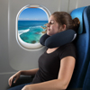 Memory Foam Travel Pillow- With Gel That Cools for Head/Neck Support with Pillowcase for Sleeping, Traveling, Airplanes, Trains by Lavish Home (Navy)