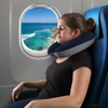Memory Foam Travel Pillow- Extra Neck Support Design Pillow with Pillowcase Protector for Sleeping, Airplanes and Train by Lavish Home (Navy Stripe)