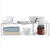 Expandable Storage Shelf- Adjustable Kitchen Cabinet, Pantry Shelves, Under Sink and Counter Top Organizer by Classic Cuisine (Chrome)