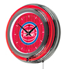 NBA Chrome Double Rung Neon Clock - City  - Detroit Pistons