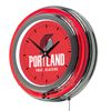 Portland Trail Blazers NBA Chrome Double Ring Neon Clock