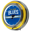 NHL Chrome Double Rung Neon Clock - St. Louis Blues�