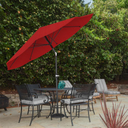 Patio Umbrella, Shade with Easy Crank and Auto Tilt Outdoor Table Umbrella for Deck, Balcony, Porch, Backyard, Poolside, 10 ft by Pure Garden (Red)